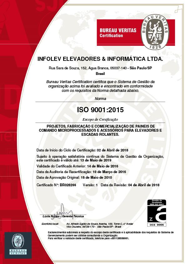 Infolev - Mais de 20 anos com certificação ISO 9001