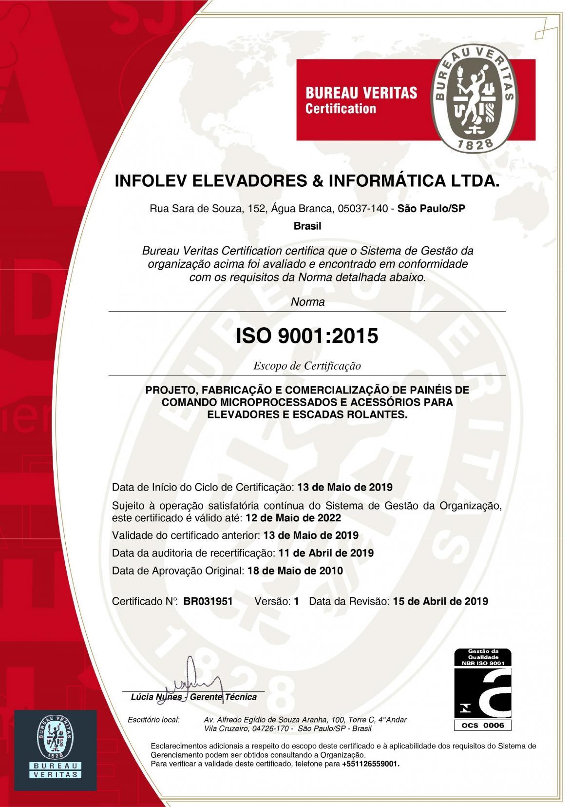 Infolev - Mais de 20 anos com certificação ISO 9001!